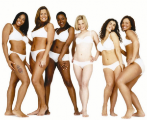 Dove's real beauty campaign ad with women of various sizes and ethnicities.