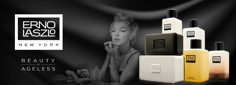 Erno Laszlo promotional banner featuring a woman and a display of products.