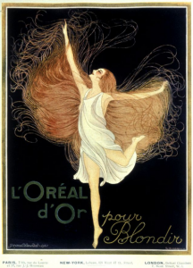 L'Oréal advertisement featuring woman with flowing hair.