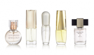 Five types of Estée Lauder perfume.