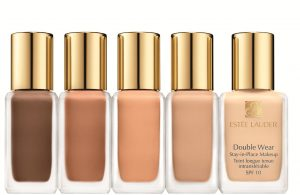 Estée Lauder's double wear foundation in five shades.
