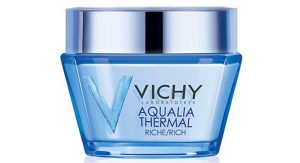 Vichy's aqualia thermal moisturizer in blue bottle.