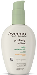Bottle of Aveeno positively radiant moisturizer