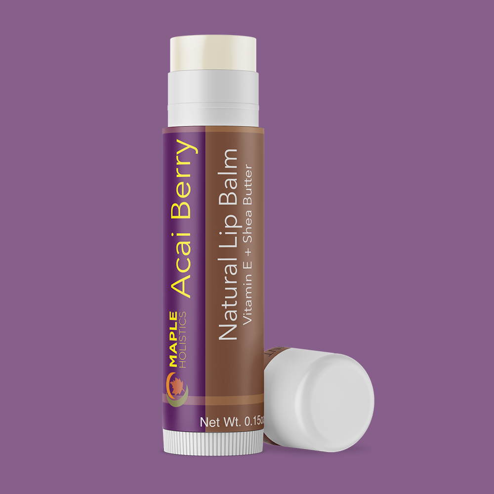Open acai berry lip balm with lid on the side.