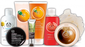 Display of The Body Shop products.