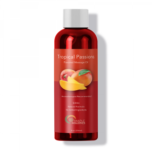 Bottle of tropical passions massage oil.