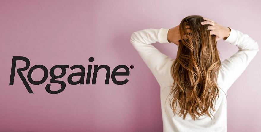 Rogaine logo with dirty blond woman