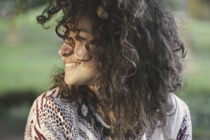 Girl with big curly hair