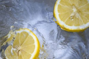 Lemon slices in water.