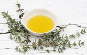 Branches with thyme and bowl of thyme essential oil.