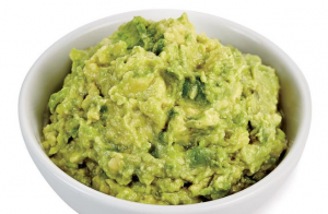 Bowl of mashed avocado.