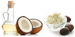 Coconut next to oil and coconut butter