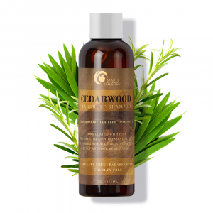 Bottle of cedarwood dandruff shampoo.
