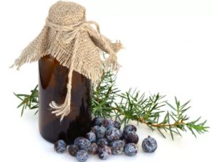 Small brown bottle covered in cloth next to berries and leaves.