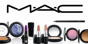 Mac logo above assortment of mac makeup products.