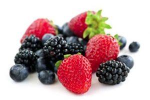 Strawberries, blueberries and blackberries.