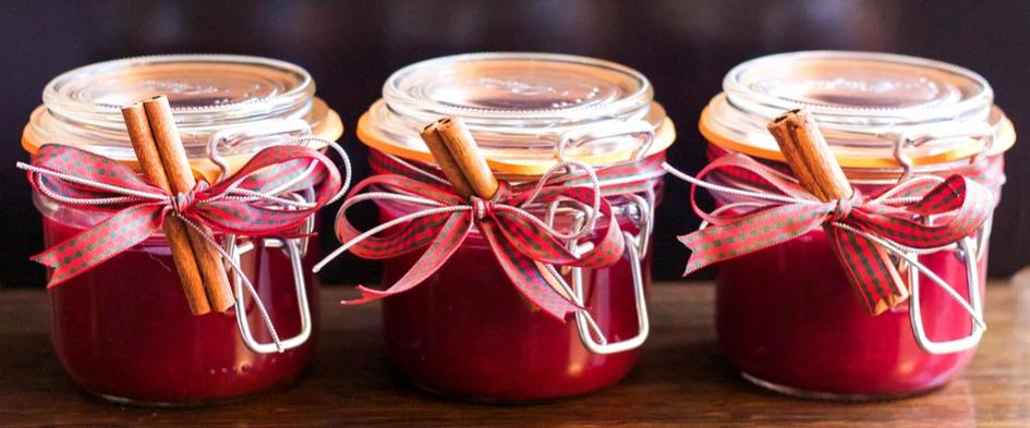 Three jam jars in a row.