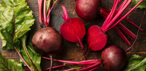 Pile of beetroot.