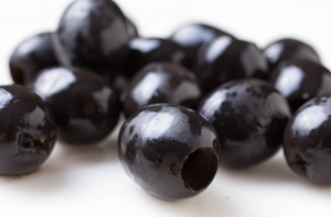 Pitted black kalamata olives.