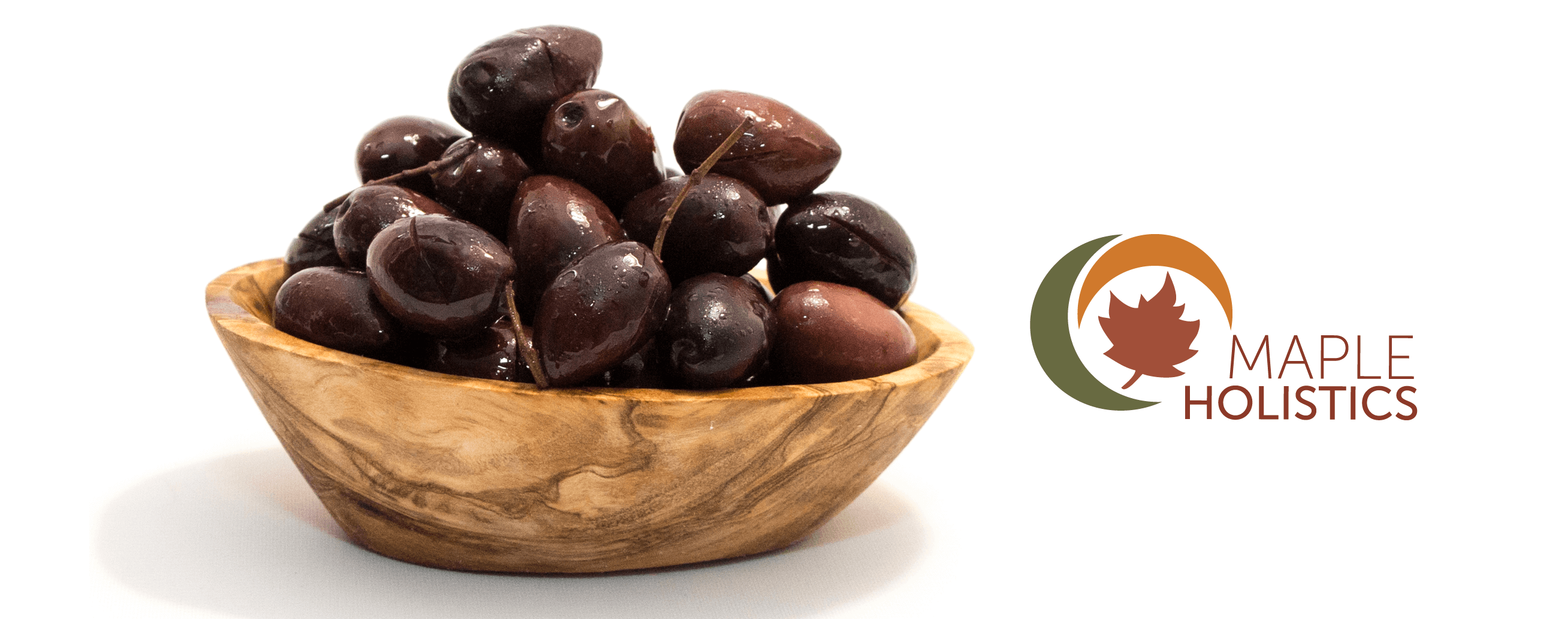 Brown bowl of kalamata olives.