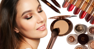 Charlotte tilbury makeup next to woman with closed eyes.