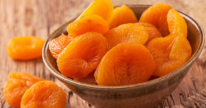 Dried apricots in a bowl.