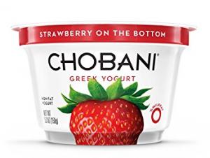 Chobani strawberry on the bottom packaging.