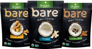 Bare Snacks Organic Coconut Chips packaging.