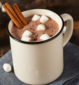Mug of hot chocolate with marshmallows and cinnamon.