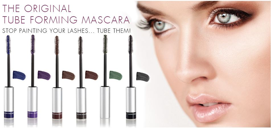 Blinc mascara swatches with womans face.