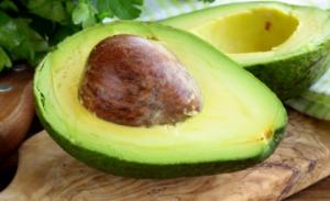 Halved avocado.