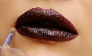 Close up of dark lipstick.