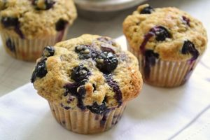 Blueberry muffins on a countertop.