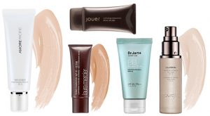 Different brands of tinted moisturizers.