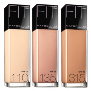 Three bottles of Maybelline Fit Me Foundation in a row.