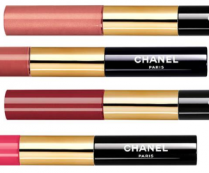 Chanel Rouge Double Intensite lipstick and gloss bottles.