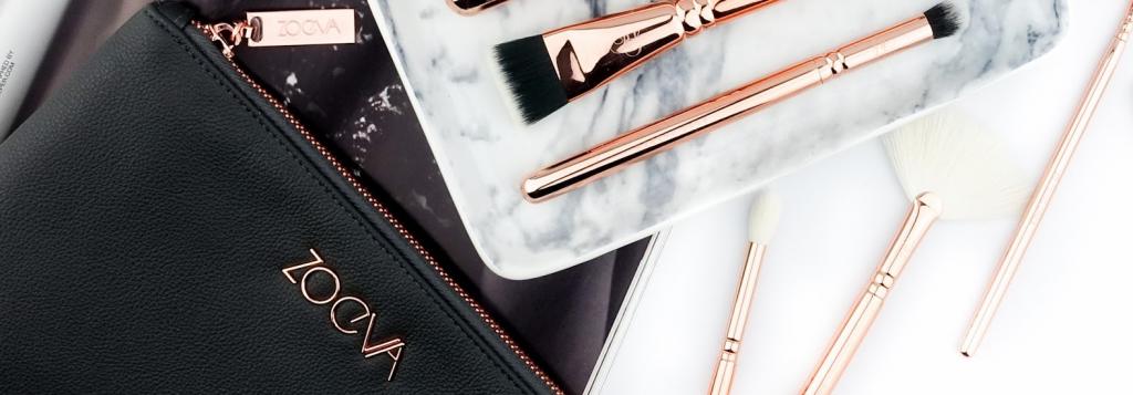 Zoeva makeup bag and makeup brushes.