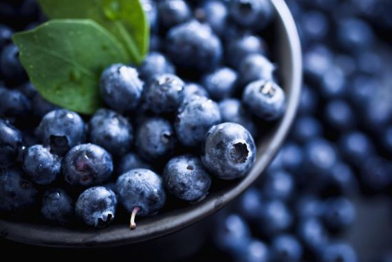 Blueberries in a bowl.
