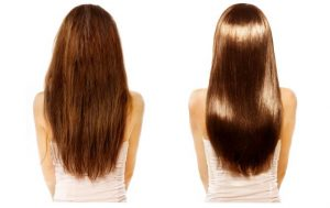 Woman before and after receiving hair botox treatment.