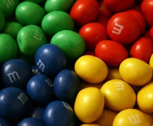 Different colored M&Ms.