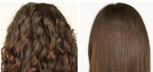 Side by side of curly and straight hair.
