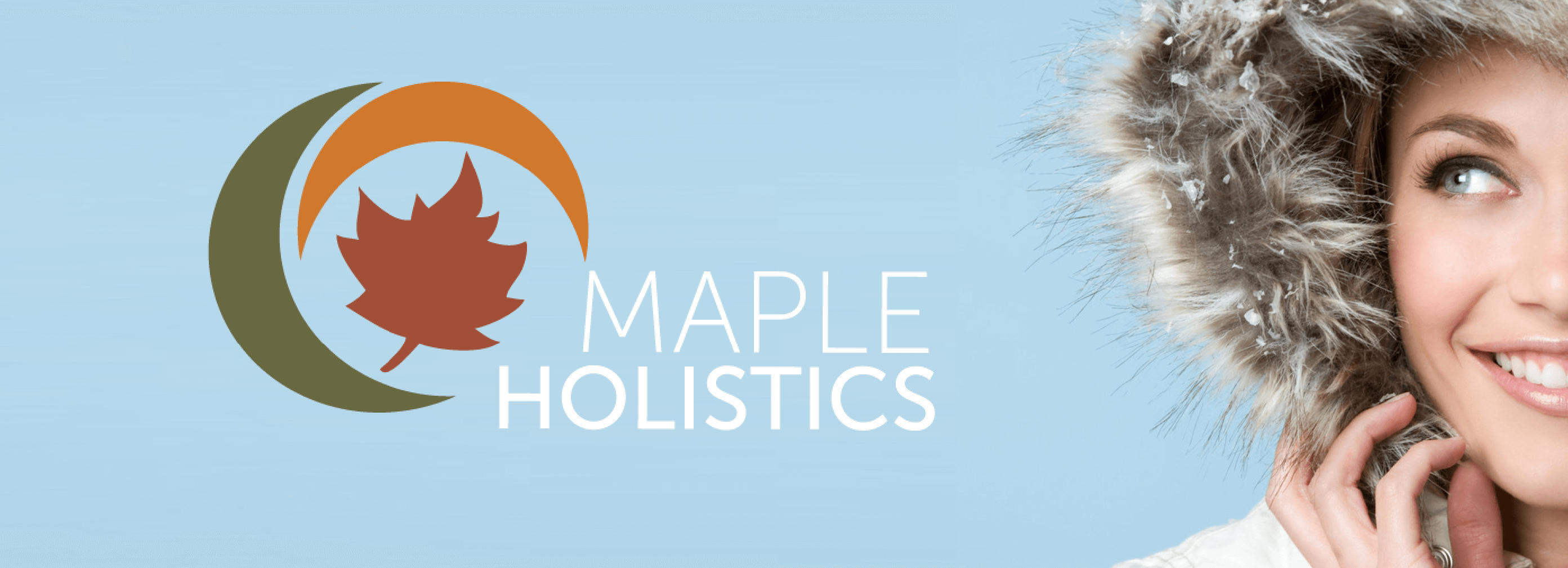 Maple Holistics advertisement with woman in winter coat.