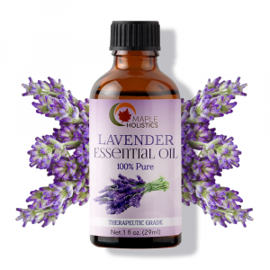 Bottle of lavender essential oil.