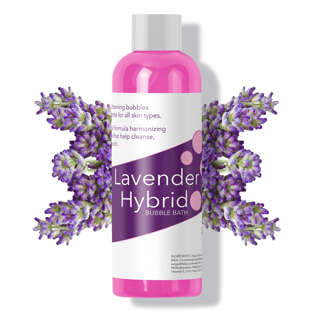 Bottle of lavender hybrid bubble bath.