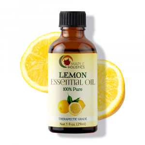 Bottle of lemon essential oil.