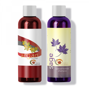Two bottles of sage shampoo and argan conditioner set.