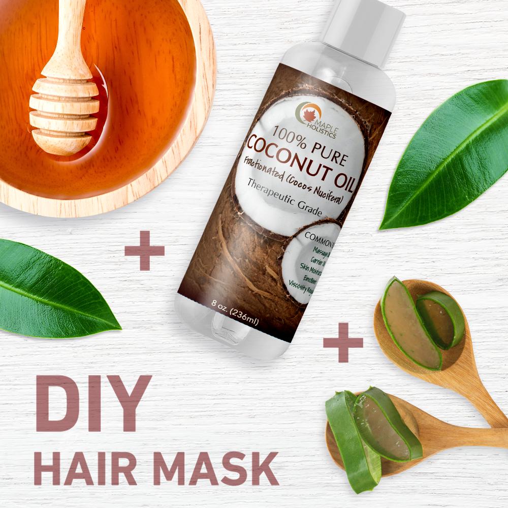 Ingredients for DIY coconut oil face mask.