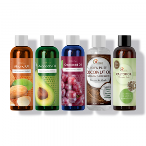 Maple Holistics carrier oil set, including almond, avocado, grapeseed, coconut and castor essential oils.