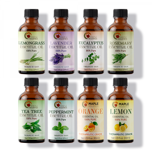 Maple Holistics set of eight essential oils for skin and hair.