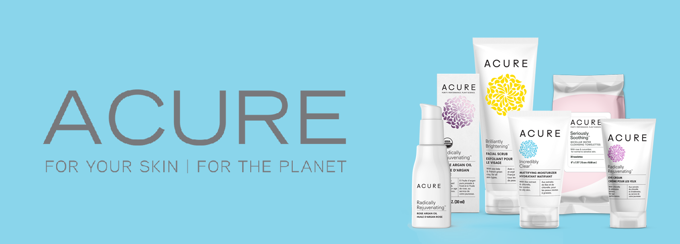 Acure campaign with assorted Acure products.